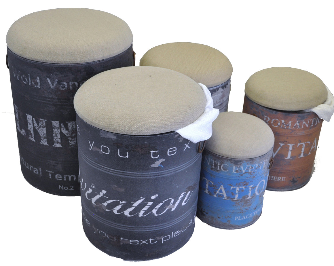 5 Piece Storage Stool Set