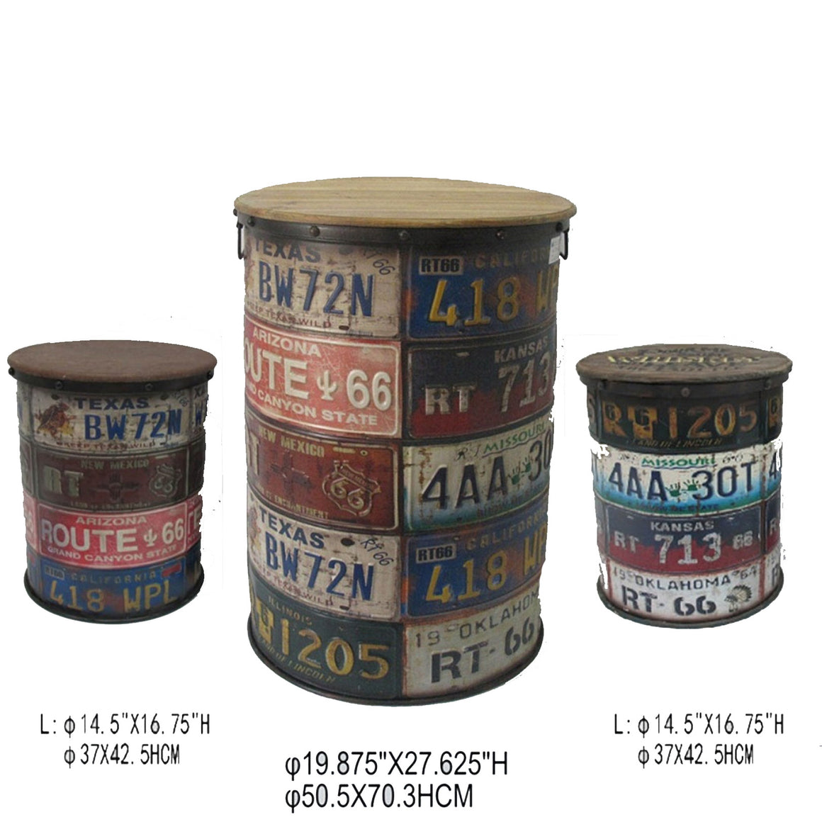 3 Piece License Plate Storage Bins - Accent Furniture - themayacompany