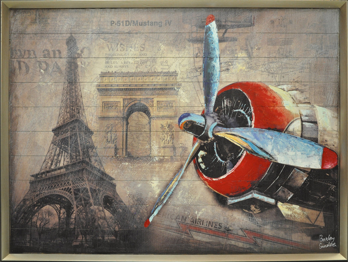 Eiffel Tower & Plane Painting