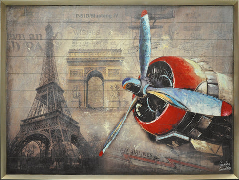 Eiffel Tower & Plane Painting - Wall Décor - themayacompany