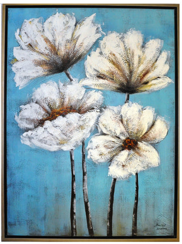 White Flowers Painting - Wall Décor - themayacompany