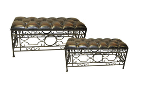 2 Piece Benches - Faux Leather - Accent Furniture - themayacompany
