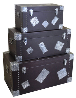 Leather 4 Piece Storage Trunks
