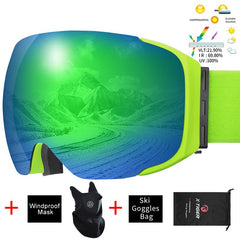 Ski Goggles Magnetic Double Layer Lens UV Protection Snowboard Snow Eyewear Men Women Outdoor Winter Sports Ski Glasses - KEPEAK-Pro