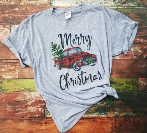 Merry Christmas vintage truck Short Sleeve Shirt
