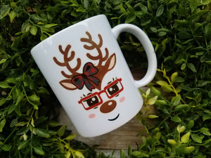 Girl Deer with Glasses Mug