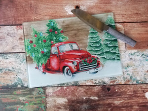 Red Truck Christmas Cutting board