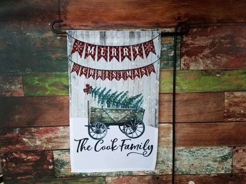 Merry Christmas Wagon Flag