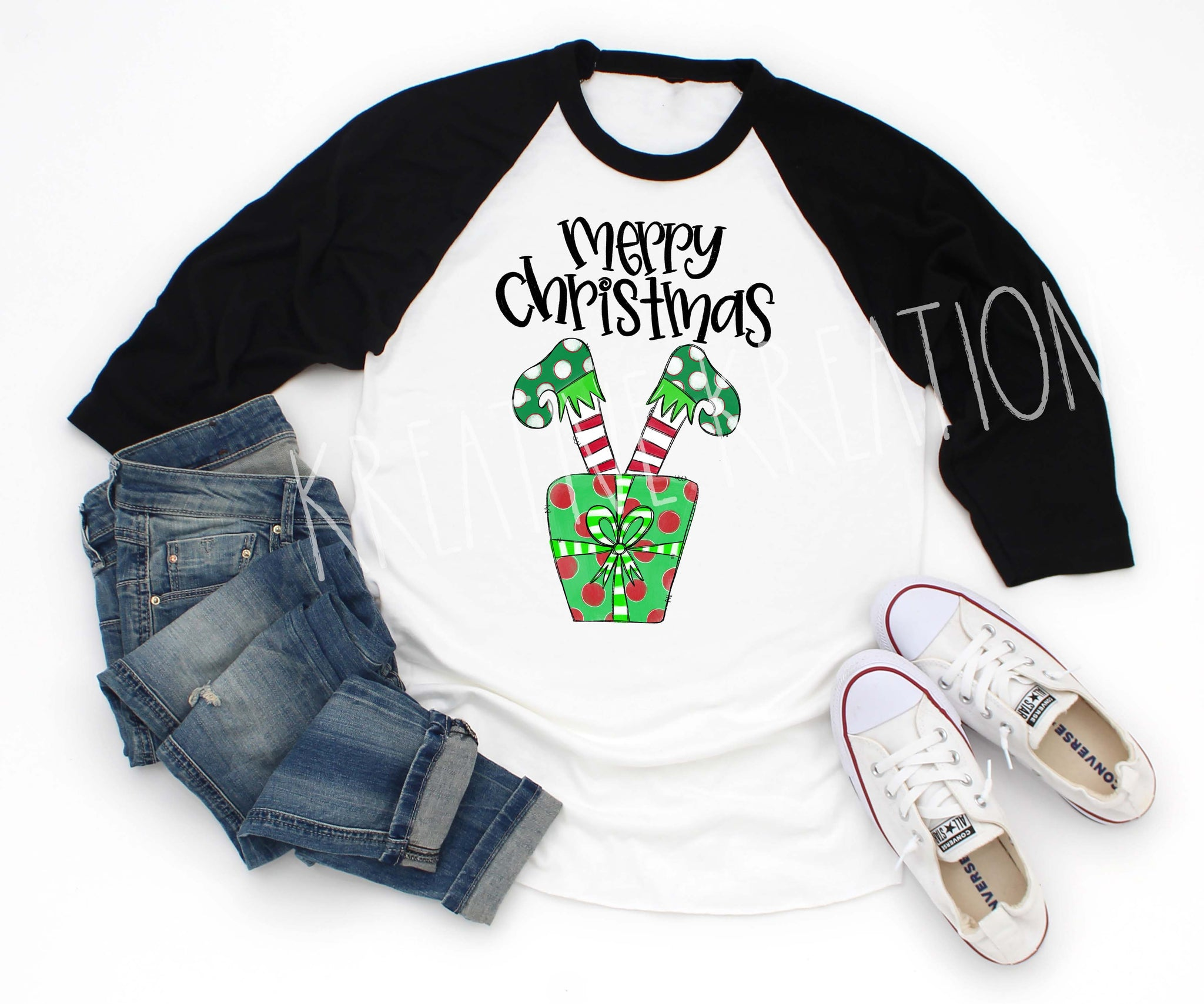 Christmas Elf feet Raglan