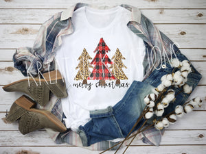 Christmas tree red plaid Tee