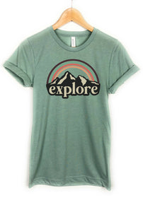 explore camping tee, dusty blue vintage