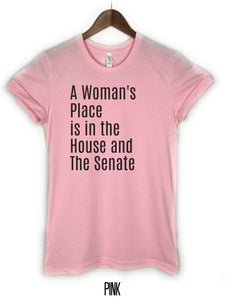 pink, house and senate tee, a womans place