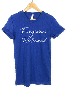 Forgiven Redeemed white letters