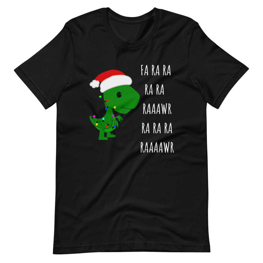 Fa Ra Ra Baby T-Rex Dinosaur Funny Christmas with Light rope Unisex T-Shirt