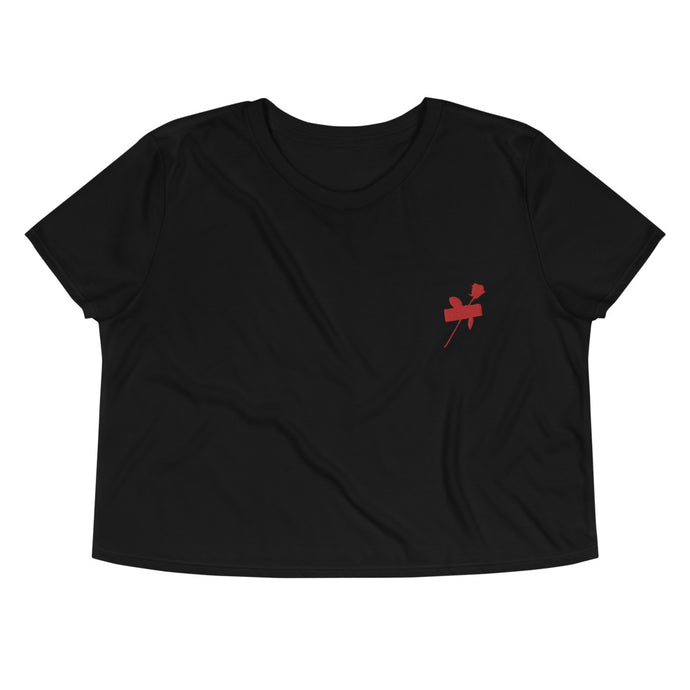 Embroidery Duct Tape Red Rose Crop Tee