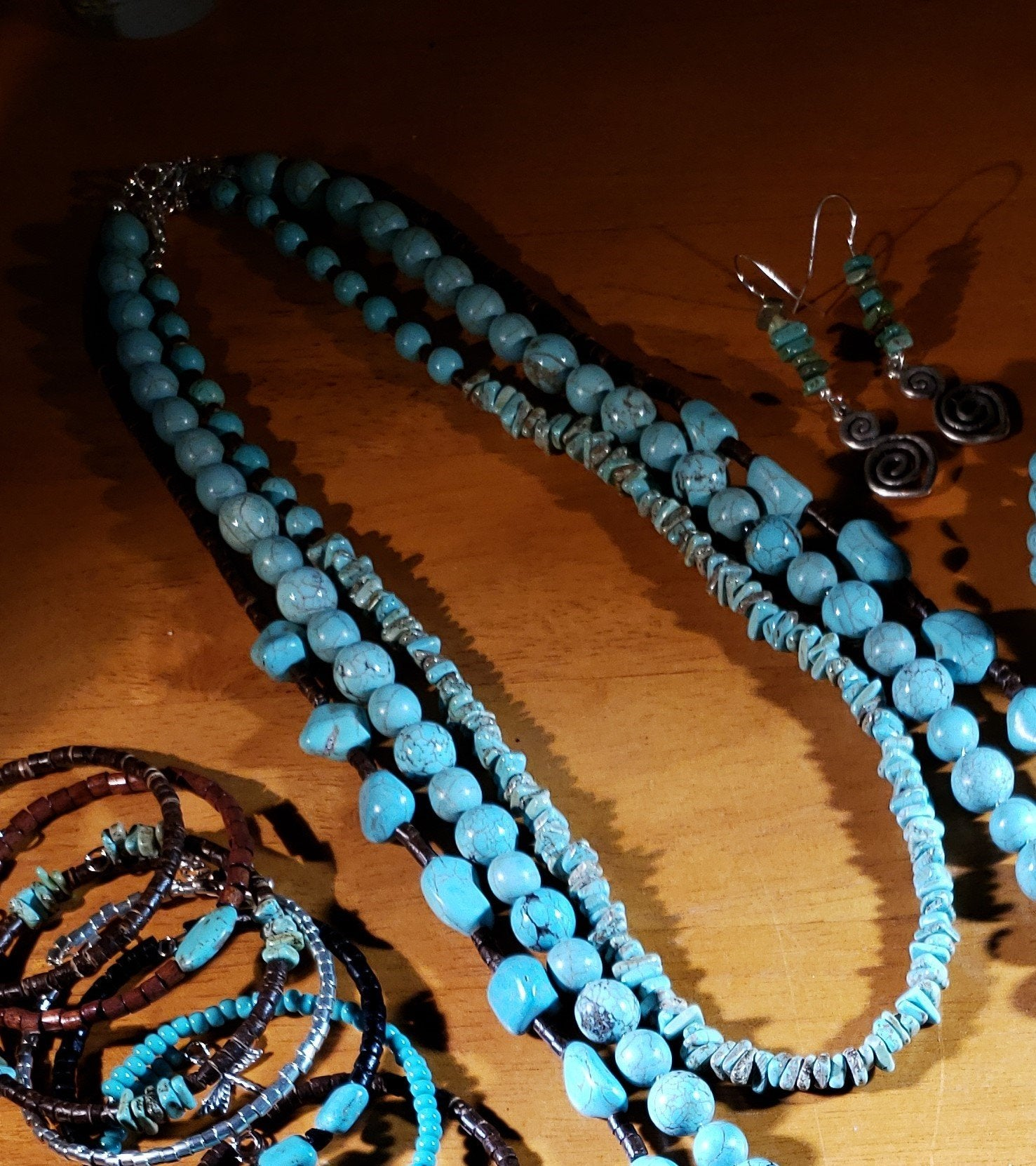 Turquoise Magnesite chips Necklace #4982