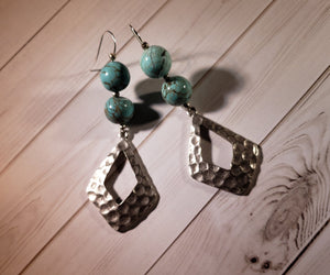 Turquoise Magnesite and Silver Plated Pendant Dangle Earrings #5000