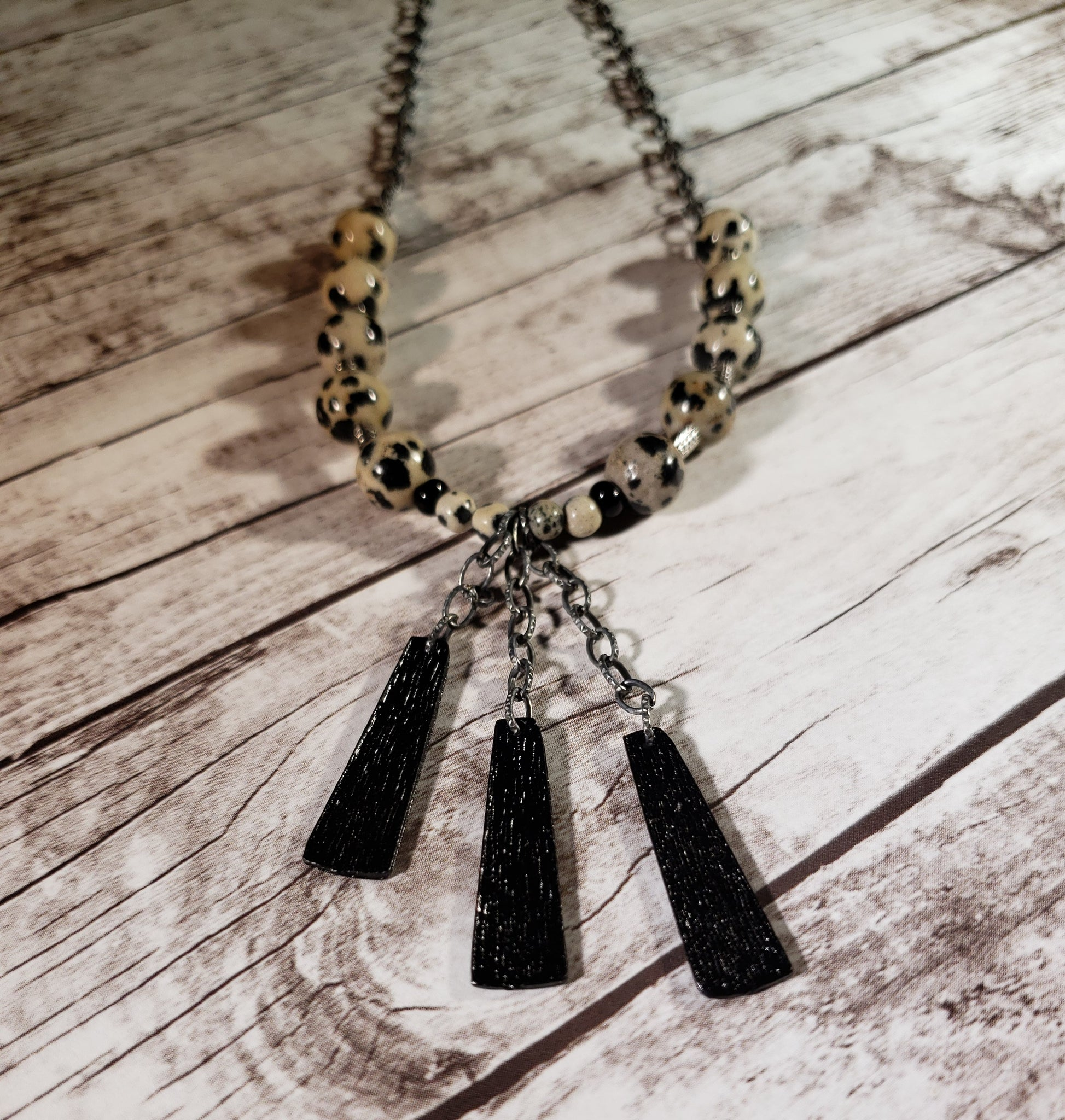 Dalmation Jasper and Black Plated Necklace