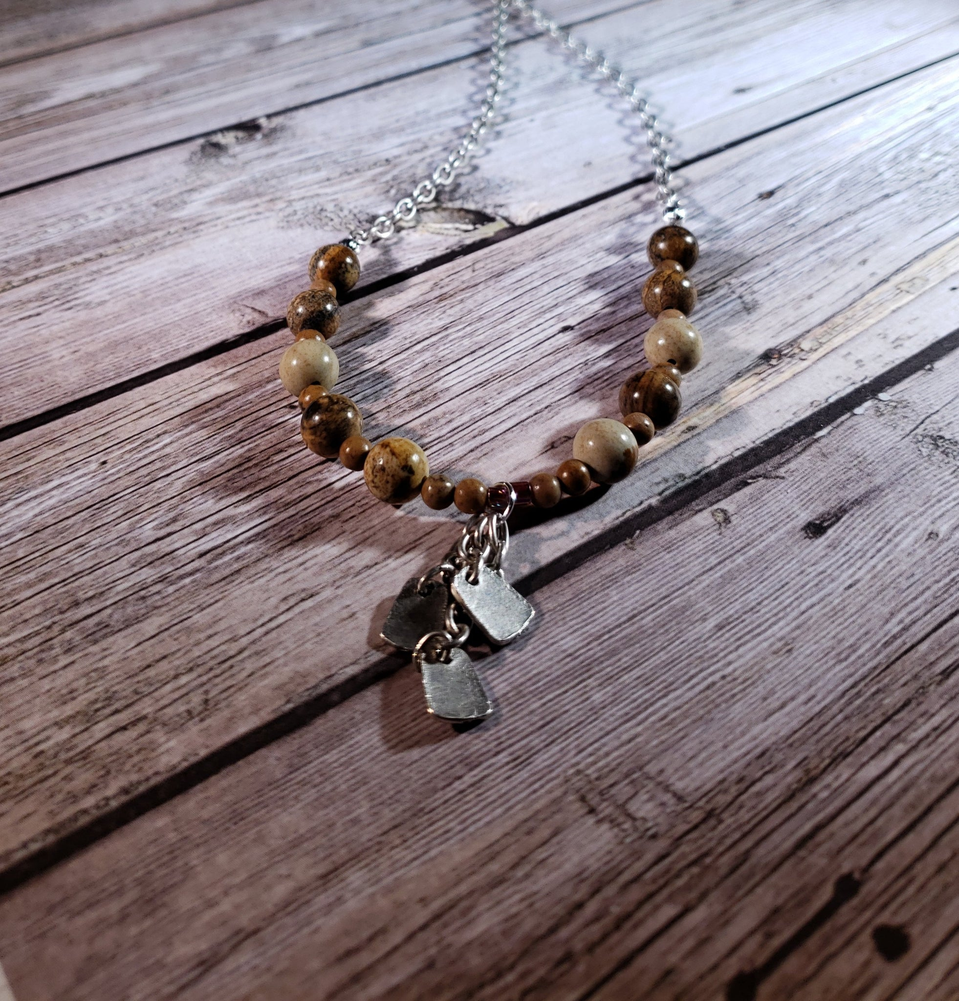 BLACK FRIDAY SALE Picture Jasper and Grain Stone Statement Necklace
