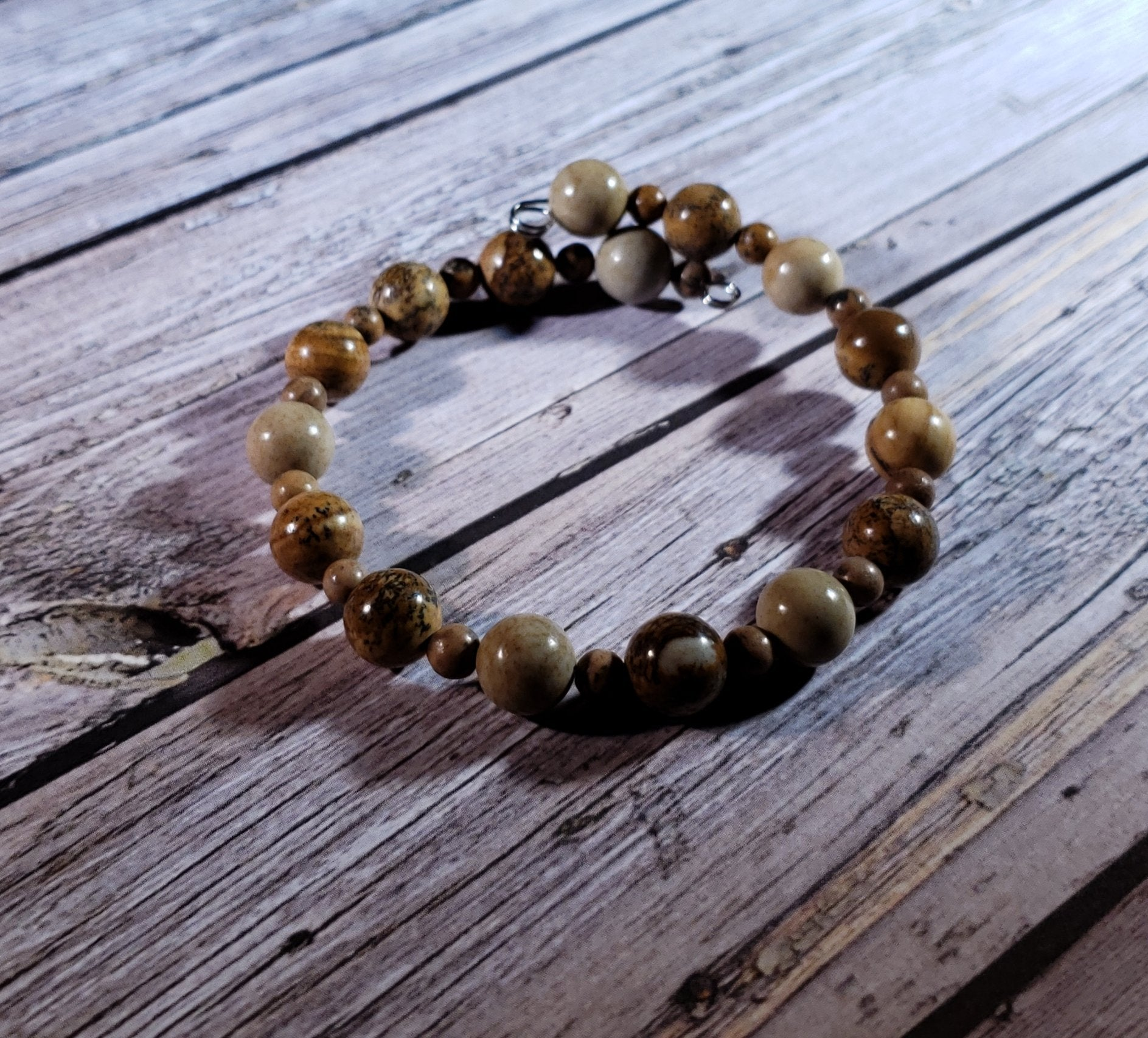 Picture Jasper and Grain Stone Memory Wire Bracelet #5021