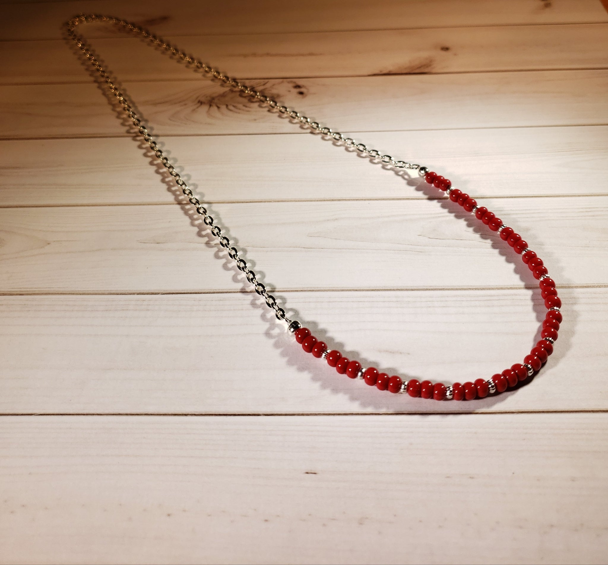 "21"" Chain with partial strand of red Japanese seed beads and corrugated spacers  #5050"