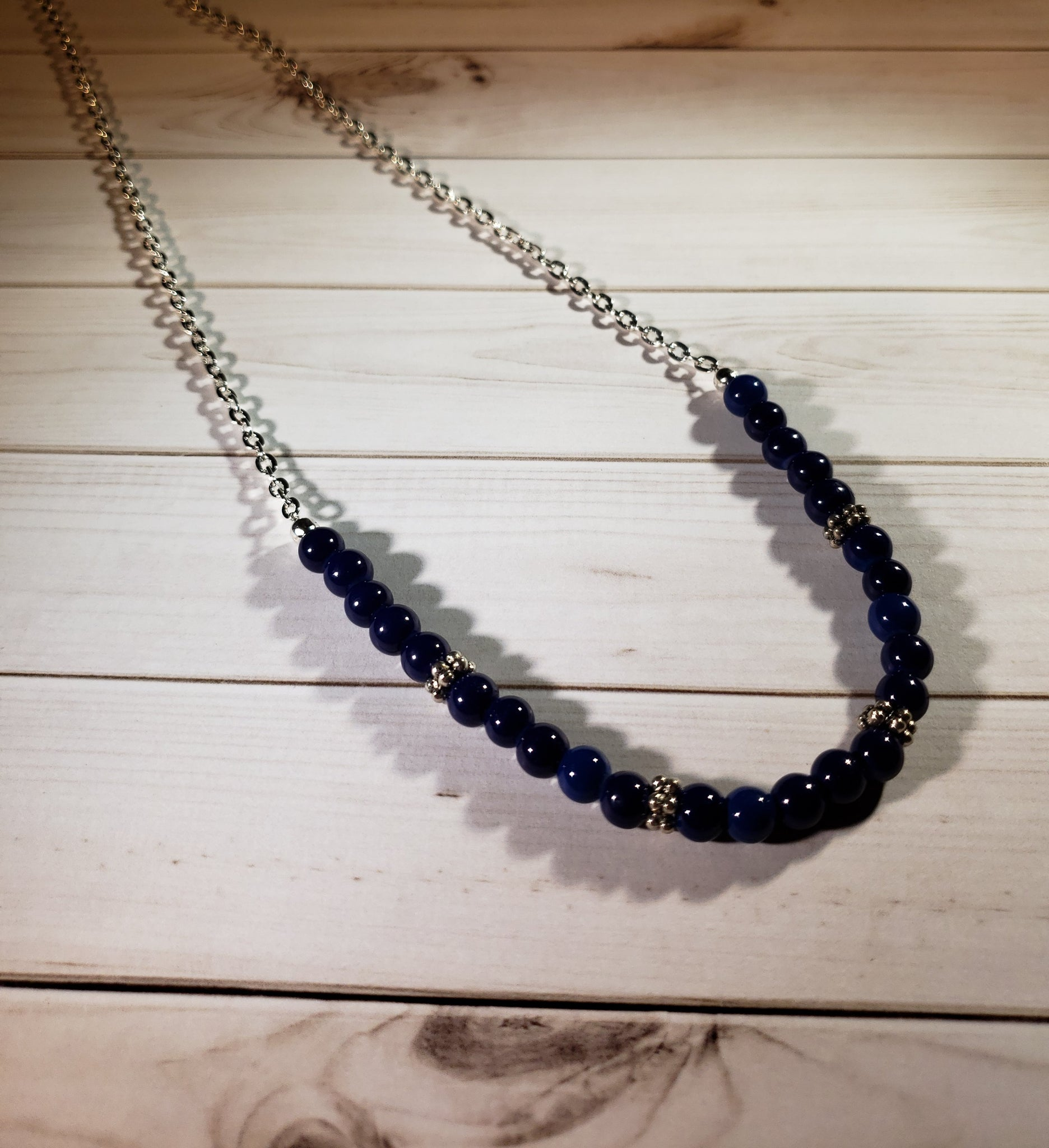 "21"" Chain with partial strand of Cobalt blue beads and daisy spacers  #5051"