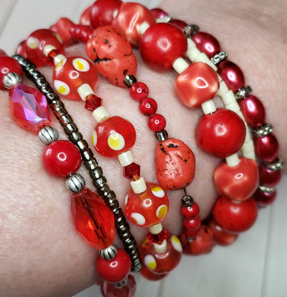 BLACK FRIDAY SALE Red, red and more red BRACELETS