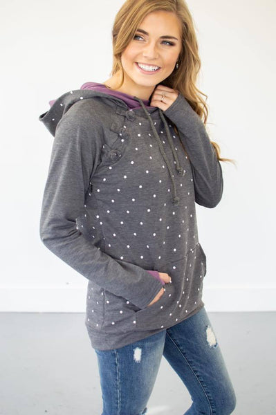 Violet Polka Dot Accent Hoodie