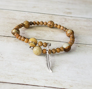 Picture Jasper and Grain Stone Memory Wire Bracelet