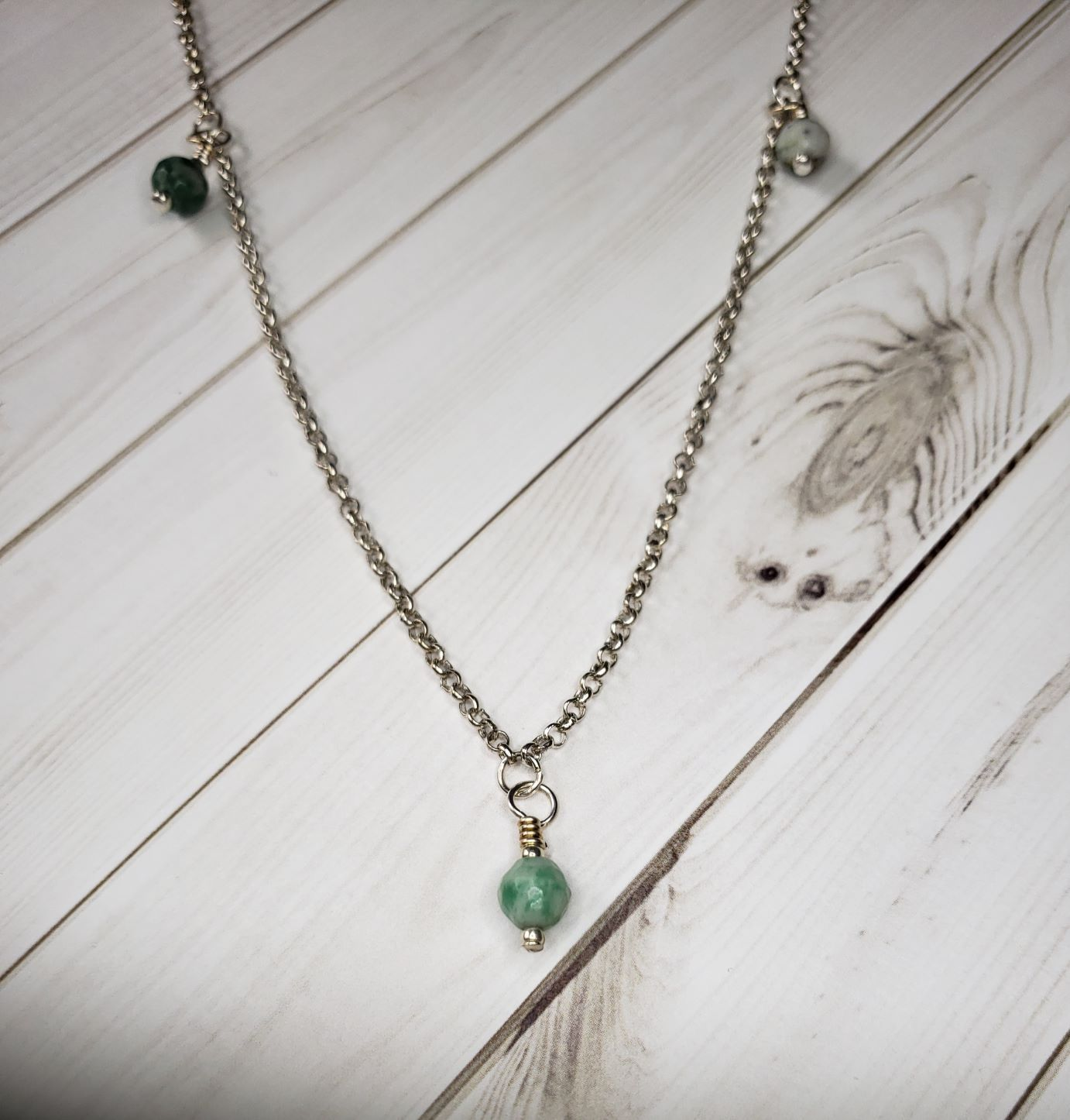 "30"" Green gemstone station pendant  #5045"