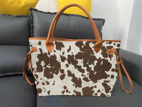 Cow print tote