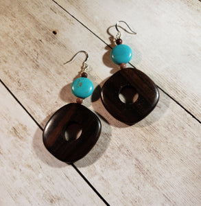 BLACK FRIDAY SALE Turquoise Magnesite, Crazy Horse Stone, and wood Dangle Earrings