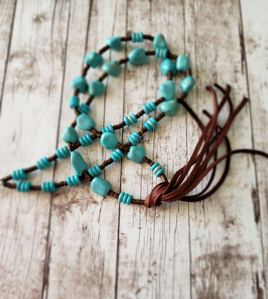 Corrales Turquoise Magnesite Nuggets and Deerskin Leather Tassel Necklace  #5136