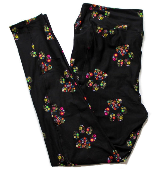 Floral Paws full length legging with pockets