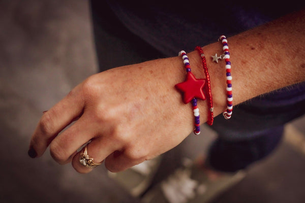 I Pledge Allegiance  Red STAR White and Blue coordinating seed bead bracelets