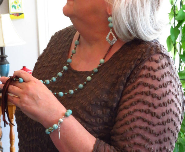 Sedona Turquoise Magnesite Beads and Deerskin Leather Tassel Necklace with matching magnetic bracelet  #5144