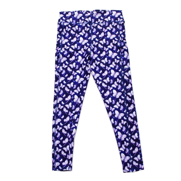 Purple butterflies full length legging with pockets
