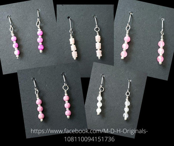All About Pink Minimalist Gemstone earrings #5092
