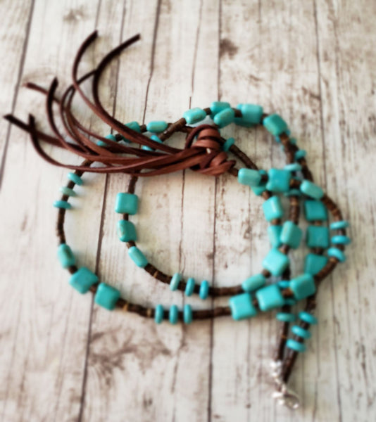 BLACK FRIDAY SALE Taos Turquoise Magnesite Chiklets and Deerskin Leather Tassel Necklace