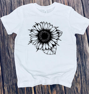 Sunflower coloring tee- adult & kids