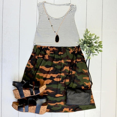 06.19 Arrival Stripes and Camo Tank Dress COMING SOON