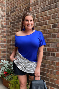 Solid & Stripes One Shoulder Top - Royal Blue