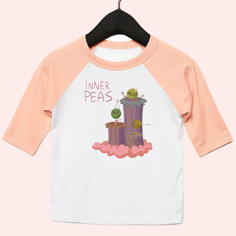 Peas Yoga Girls Toddler 3/4 Baseball Tee