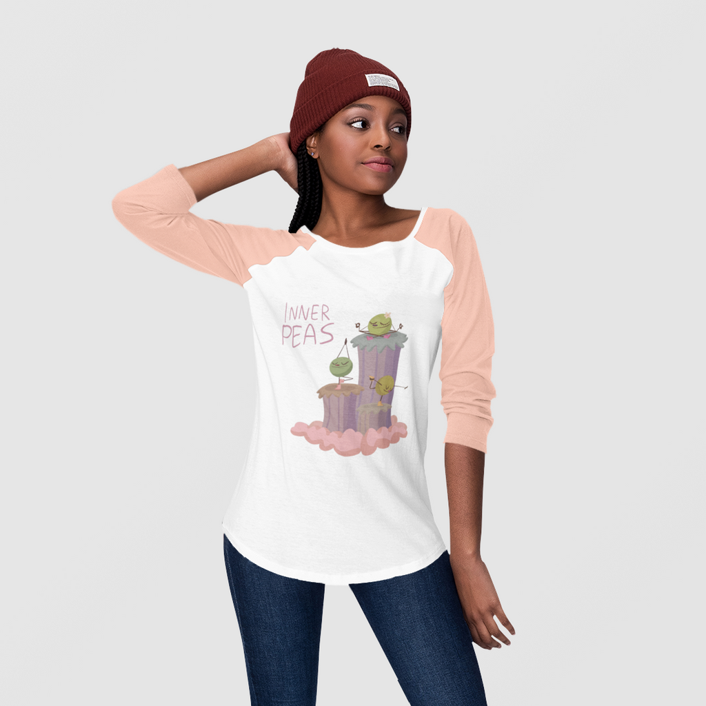 Yoga Peas Pink Youth 3/4 Sleeve Baseball Tee