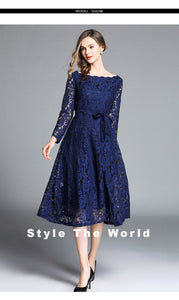 Nesa Fashion New Spring Summer Dress Women Long Sleeve Midi Party Blue Office Lace Glitter Dress