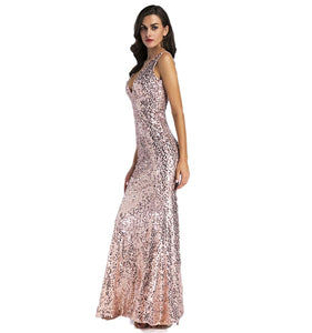 Nesa Fashion Women Gold sleeveless Long Elegant Maxi Dress Backless Mermaid vestido  Evening Party Shiny Dresses