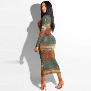 Nesa Fashion Gradient Print Multi Bodycon Dress 2019 Winter Women Turtleneck Long Sleeve Sheath Stretchy Mid Dresses
