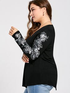 Nesa Fashion Women Sexy V Neck Floral Pattern Long Sleeve Draped T-Shirt Autumn Casual Femme Loose Tops Tees Plus Size XL-5XL