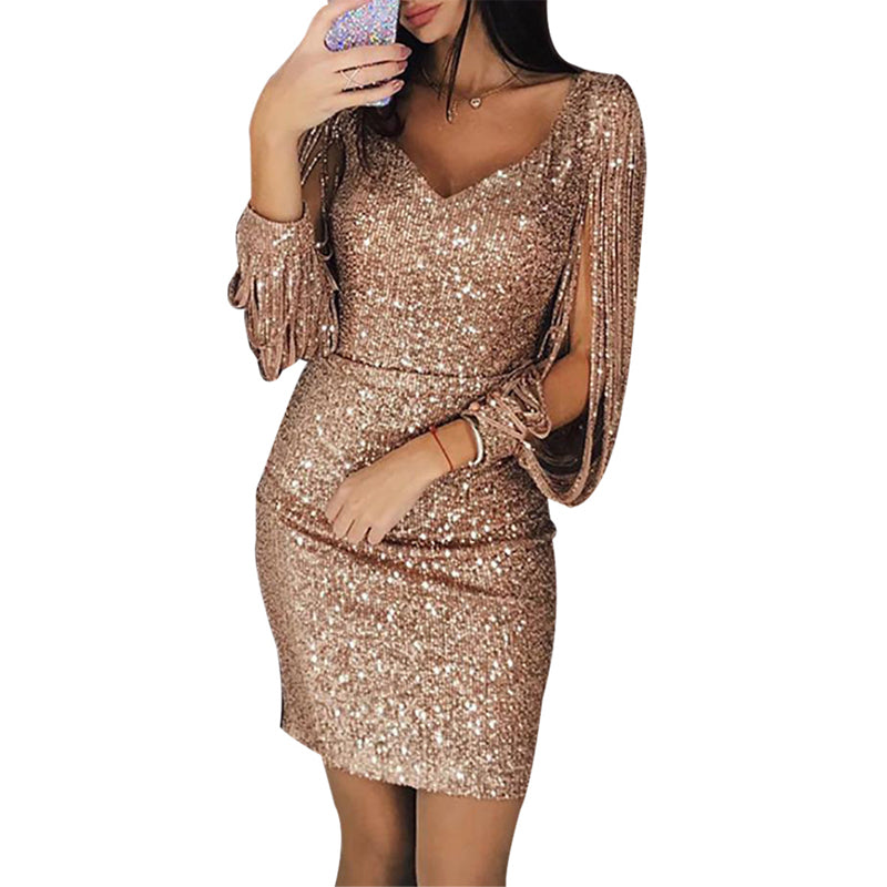 19882f83 ... Load image into Gallery viewer, Nesa Fashion Gold Silver Women Sexy  Tassel Sequin Party Dress ...