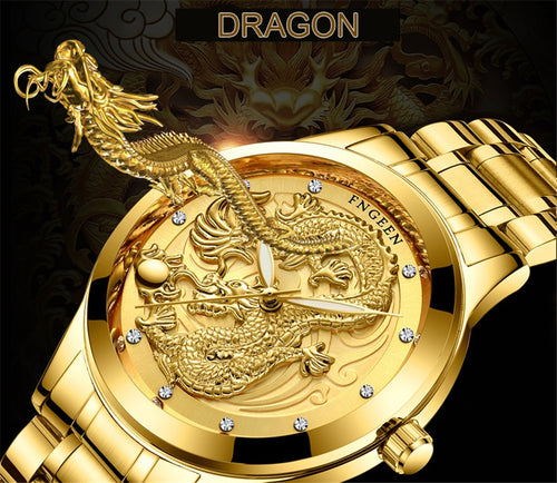 Nesa Fashion Mens Watches Top Brand Luxury Waterproof Dragon Clock Male Steel Strap Business Casual Quartz Watch Men Sports Wrist Watch
